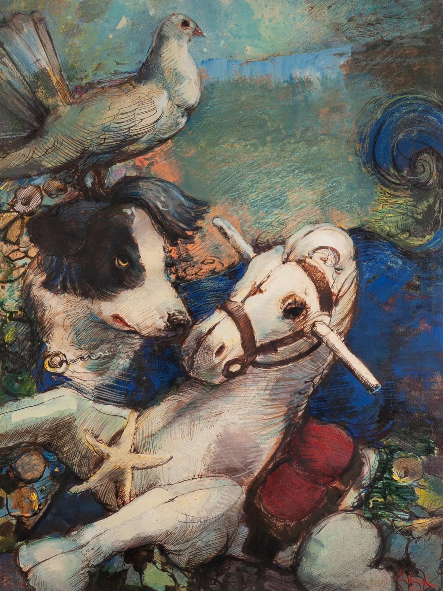 Lot 13 - BOHUSLAV BARLOW (b.1947) WATERCOLOUR AND INK ?Celestial Games?, rocking horse, dog and a pigeon