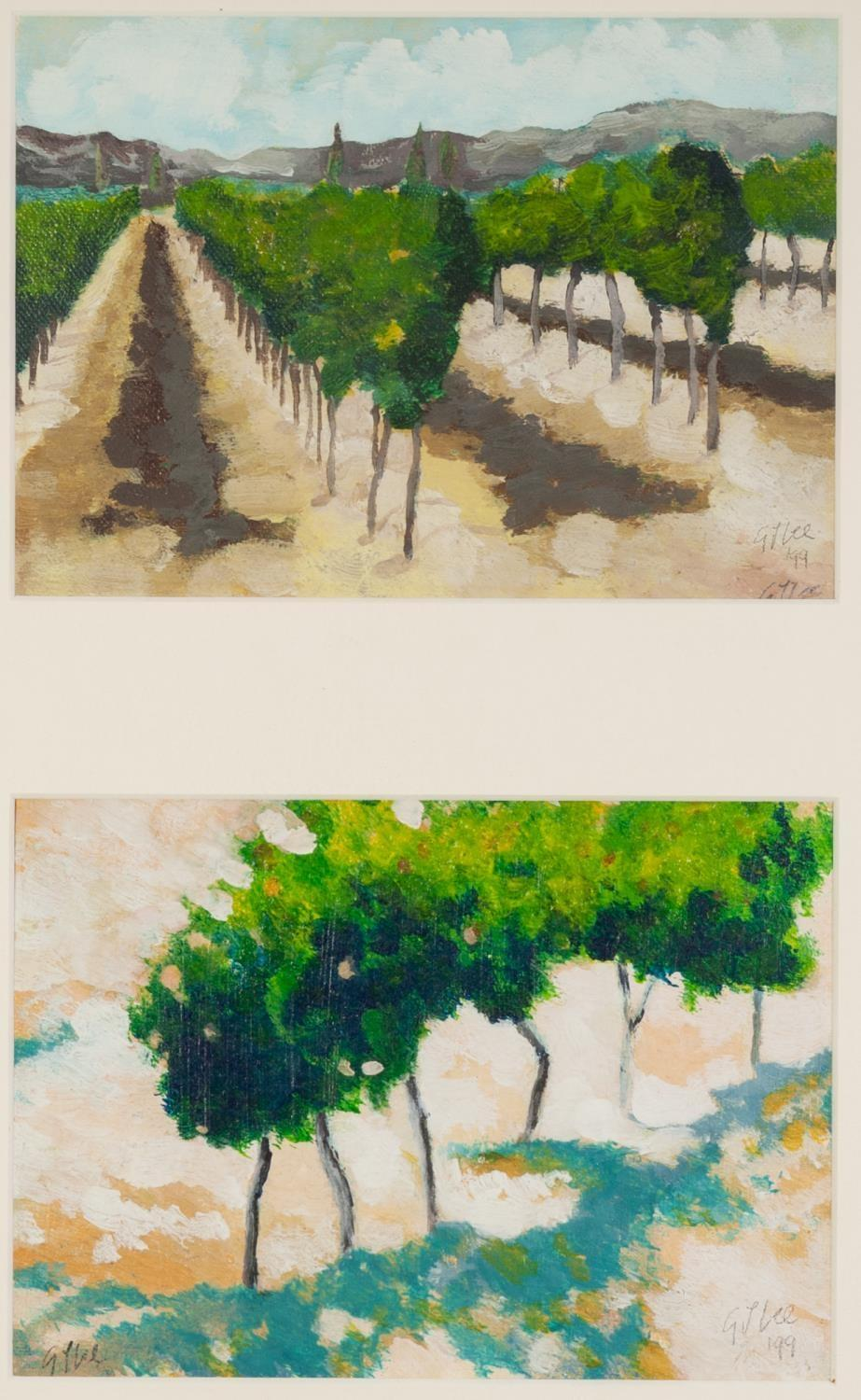 Lot 96 - GRAHAM LEE (b.1953) TWO OIL PAINTINGS ?Vineyards, Provence II? 'Vineyards, Provence V? Signed and