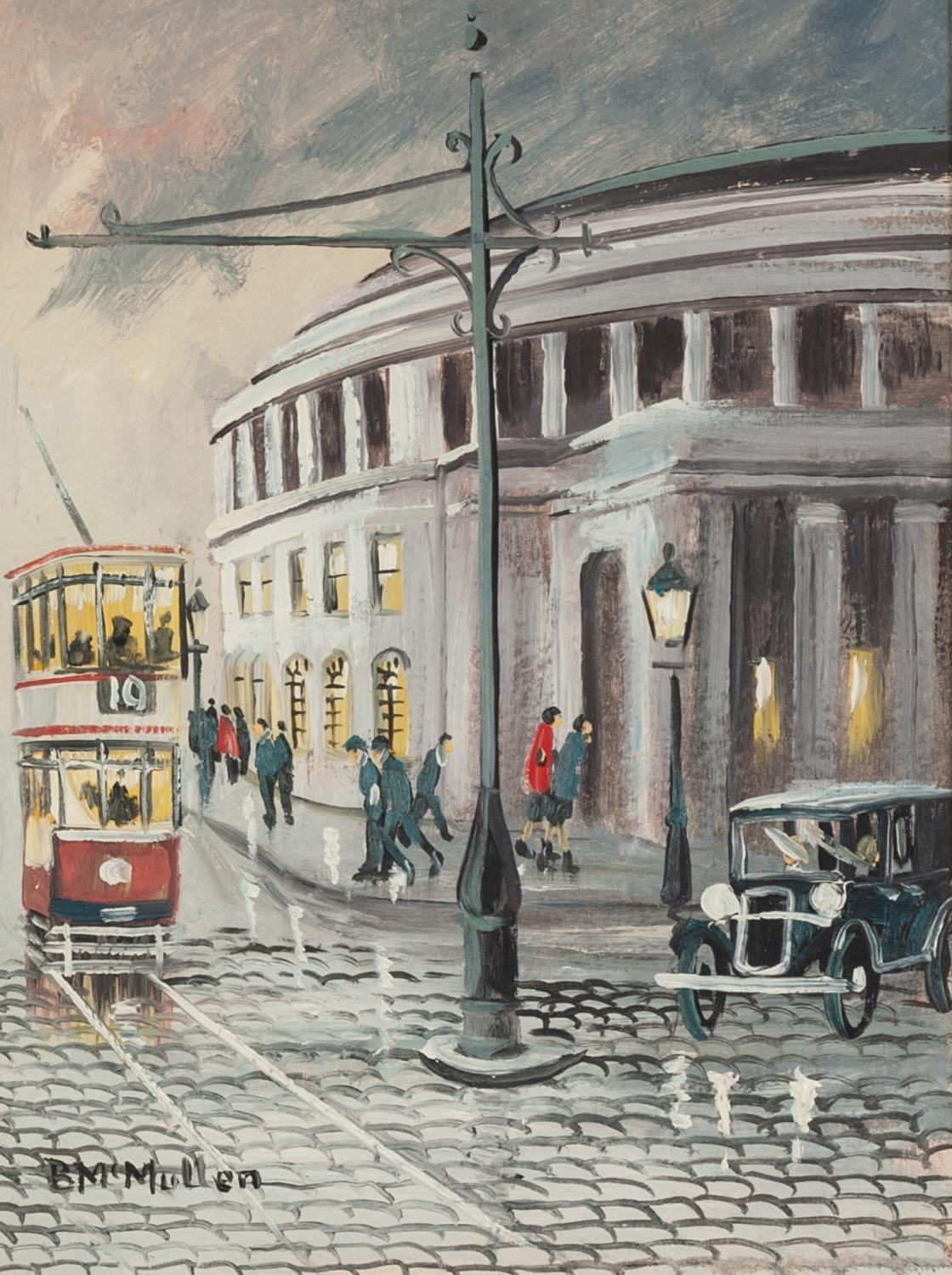 Lot 113 - BERNARD McMULLEN (1952-2015) Oil on board St Peter?s Square with Central Library, Manchester