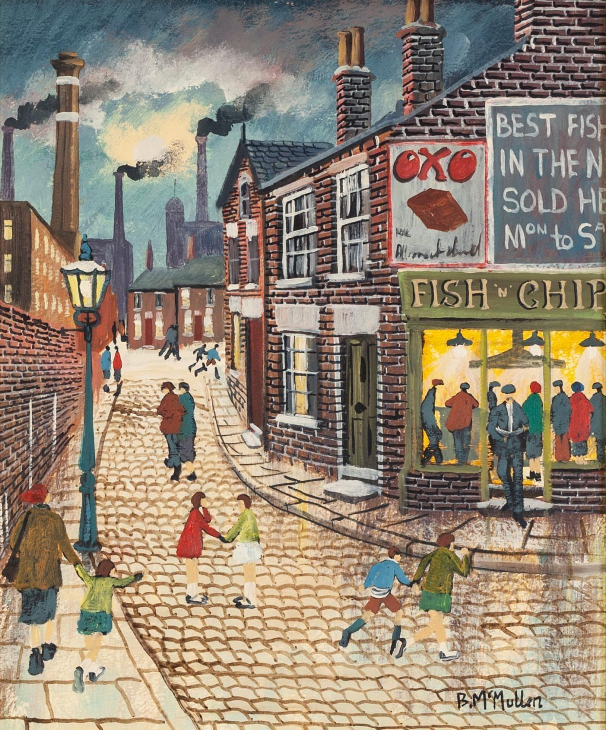 Lot 111 - BERNARD McMULLEN (1952-2015) Acrylic on board Fish & Chip corner shop Signed with dedication to