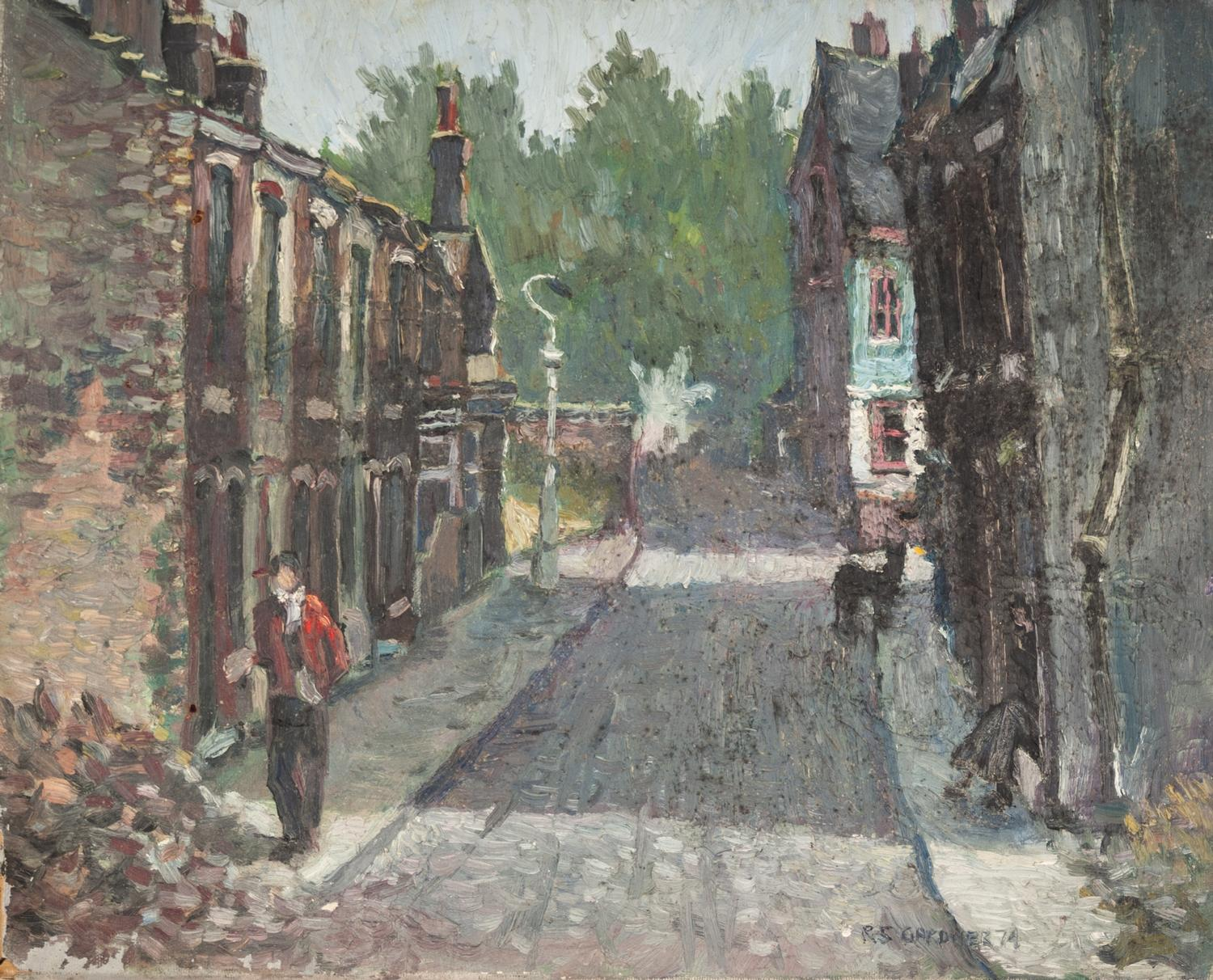 Lot 43 - REG GARDNER (b.1948) OIL ON CANVAS Street scene with figure and a dog Signed and dated (19)74 16?