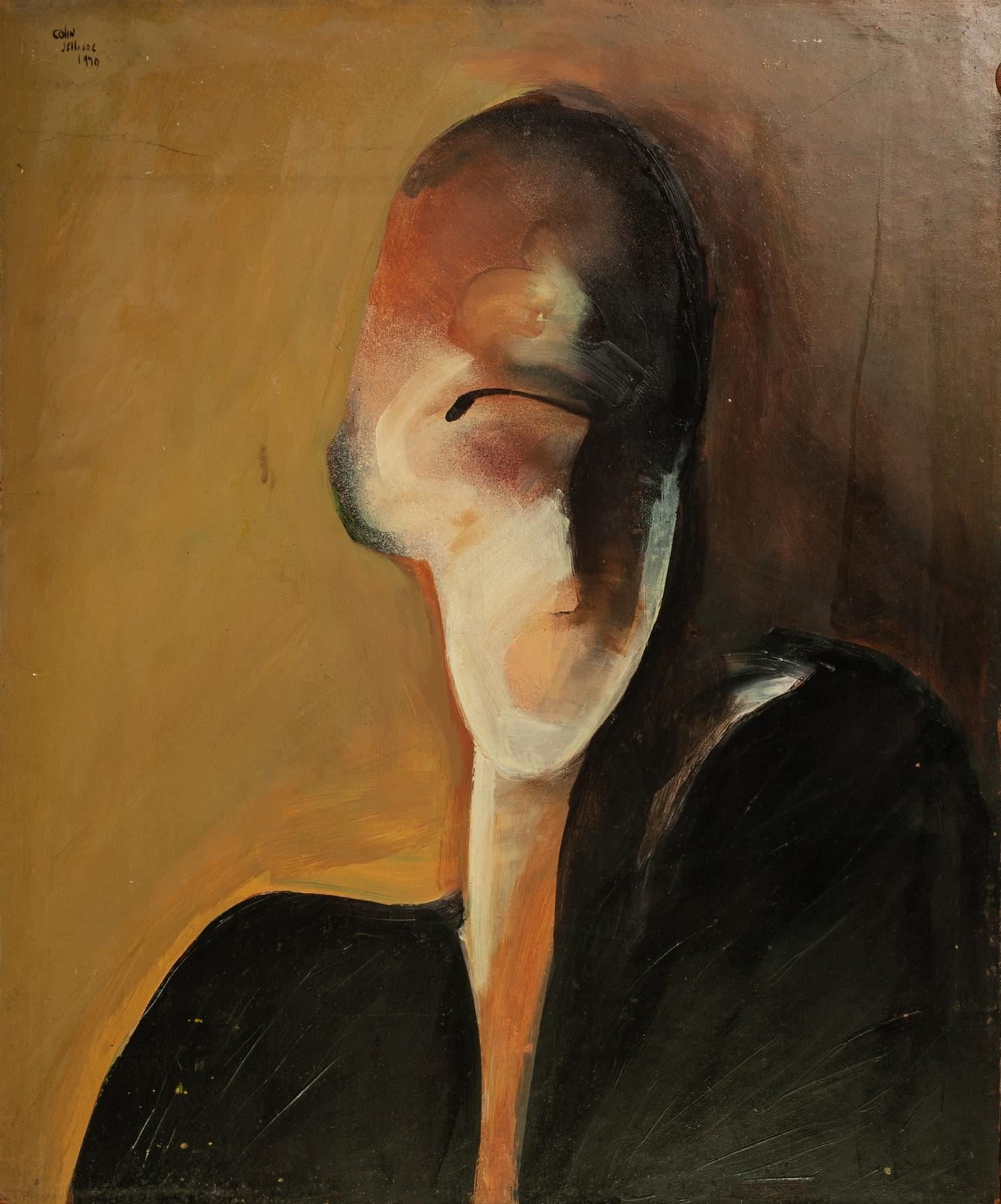 Lot 83 - COLIN JELLICOE (1942-2018) OIL ON BOARD ?Shifting Face? Signed and dated 1990, titled verso 24? x