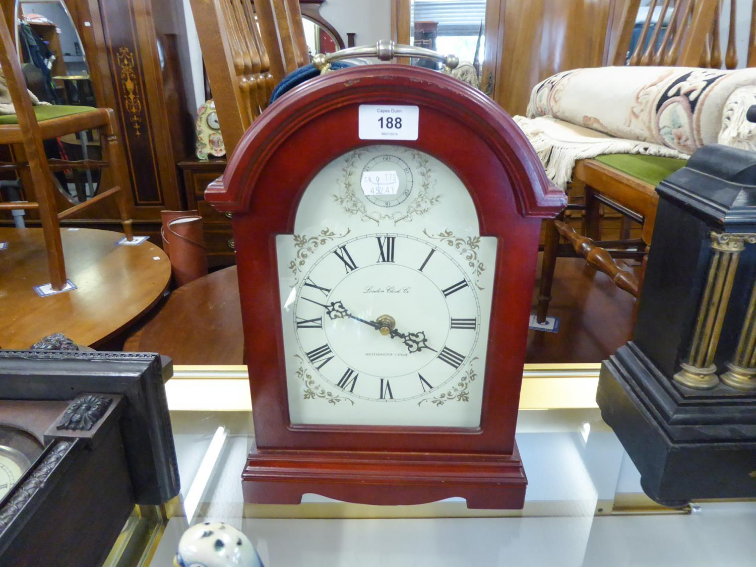 Lot 188 - MODERN BATTERY DRIVEN WESTMINSTER CHIMING DOME TOP 'BRACKET' TYPE CLOCK WITH CARRYING HANDLE, THE