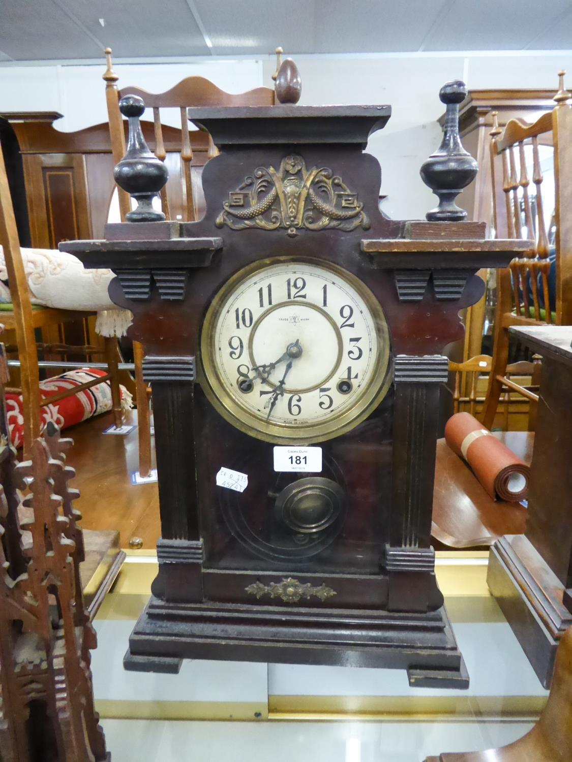 Lot 181 - EARLY 20th CENTURY DARK STAINED WOODEN CASED MANTEL OR SHELF CLOCK, the dial marked 'Made in China',