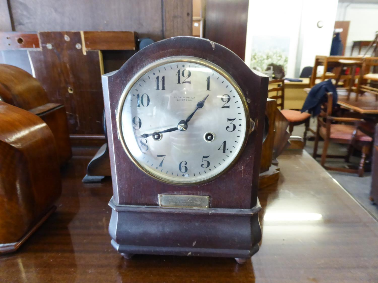 """Lot 170 - BENTIMA OAK CASED MANTEL CLOCK DOME TOPPED WITH 8 DAY MOVEMENT STRIKING ON COILED GONG 8 1/2 """""""