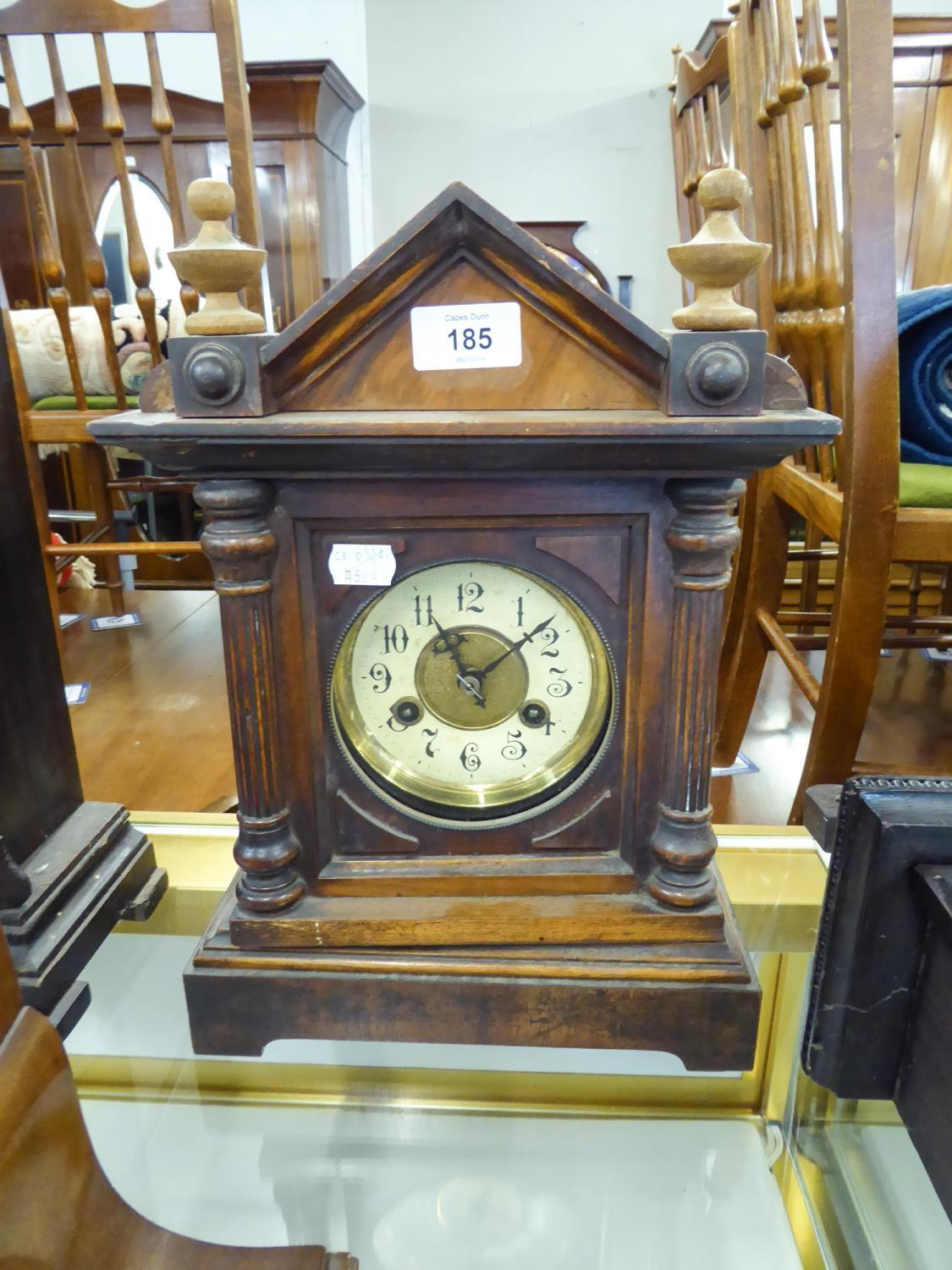 "Lot 185 - CIRCA 1900 WOODEN CASED MANTEL CLOCK with circular arabic dial, 14"" (35.5cm) high"