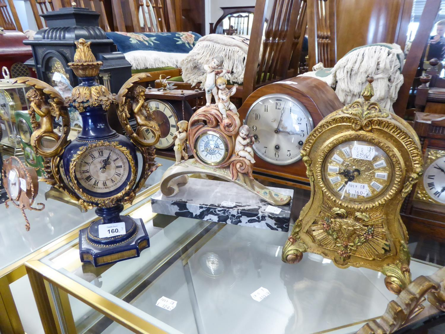 """Lot 160 - FRANKLIN MINT GIFT COMPOSITION """"THE KING LOUIS XIV MANTEL CLOCK, 10 1/2"""" HIGH, ANOTHER BLUE AND GILT"""