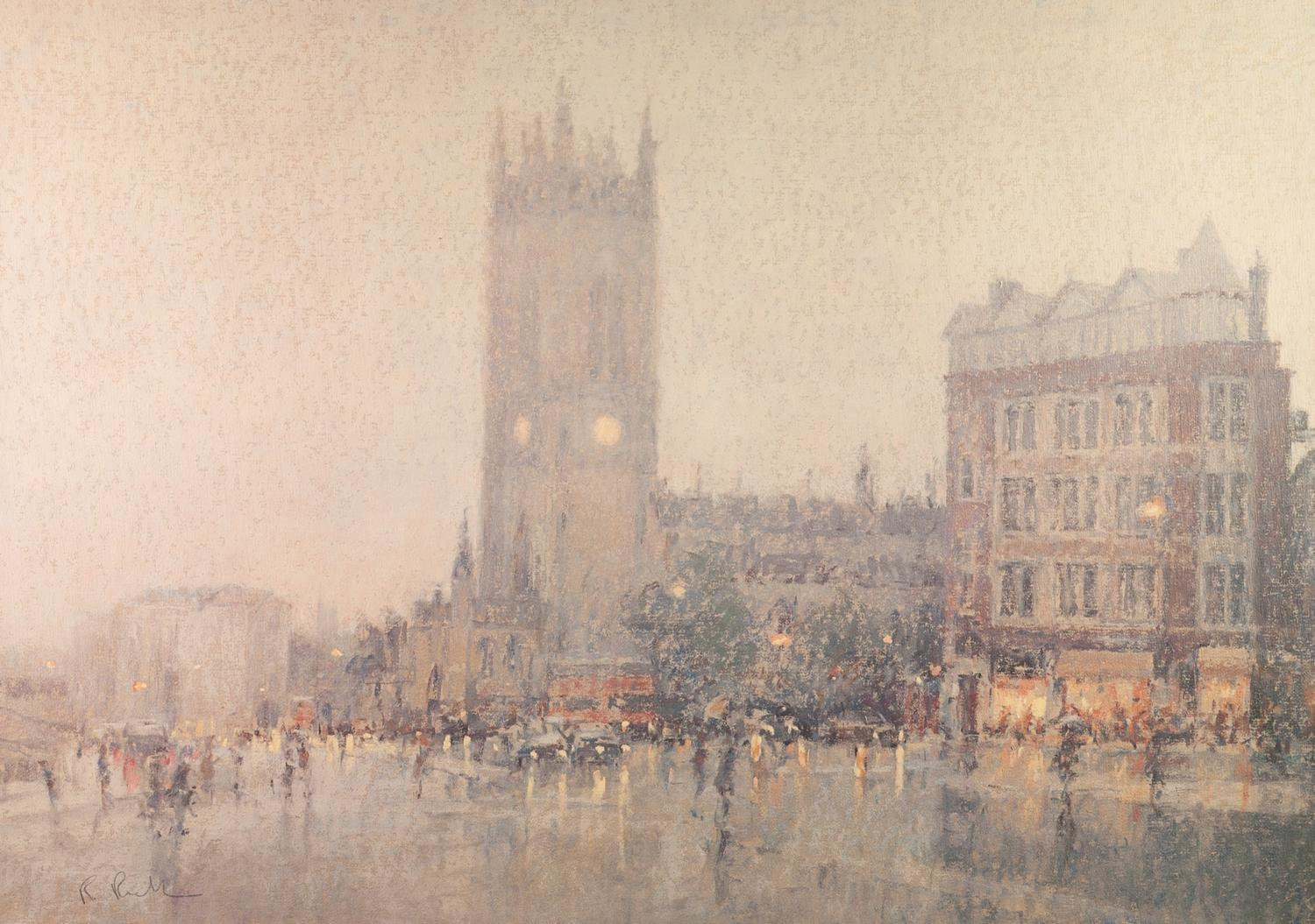 Lot 461 - BOB RICHARDSON ARTIST SIGNED LIMITED EDITION COLOUR PRINT Deansgate, Manchester, with a view of