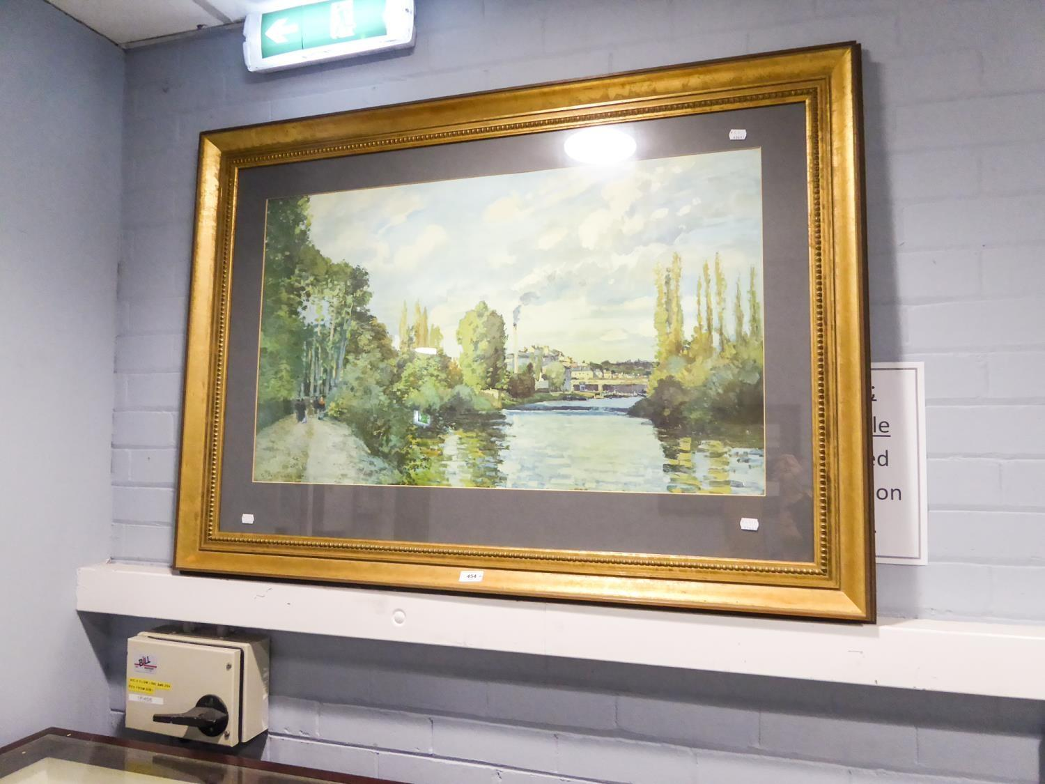 Lot 407 - G. PISSATTO PRINT OF A CANAL SCENE 53 X 89CM