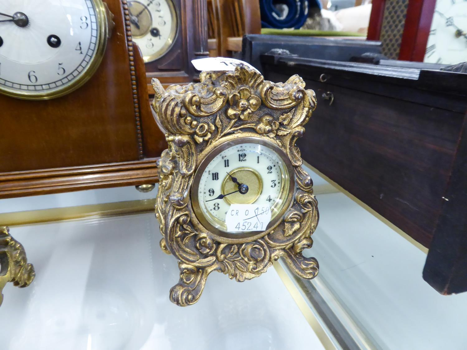 Lot 190 - EARLY 20th CENTURY SMALL CASE GILT SPELTER CASED 'ROCOCO REVIVAL' MANTEL CLOCK WITH IVORINE ARABIC