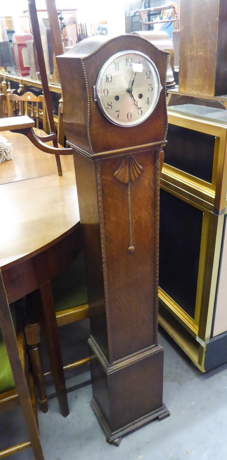 "Lot 183 - 1930s OAK CASED GRANDDAUGHTER CLOCK with gong chiming movement, 50 1/2"" (128.5cm) high"