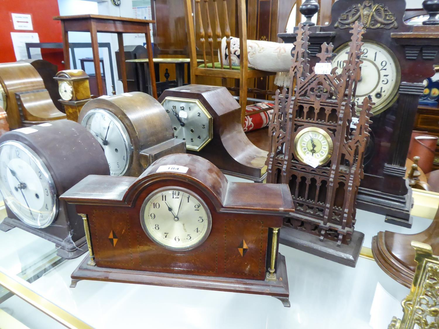 Lot 184 - EDWARDIAN INLAID MAHOGANY MANTEL CLOCK with silvered arabic dial, also a MODERN FRET-WORK '
