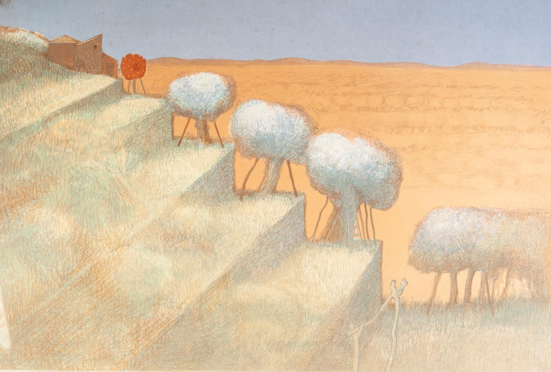 Lot 373 - JOHN PICKING ARTIST SIGNED LIMITED EDITION COLOUR PRINT ?Sicilian Terraced Landscape? (9/60),