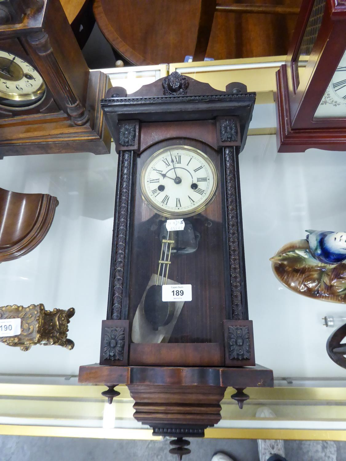 Lot 189 - EARLY 20th CENTURY SMALL WALL HANGING 'VIENNA' STYLE PENDULUM CLOCK WITH CYLINDER AND COMB MUSICAL