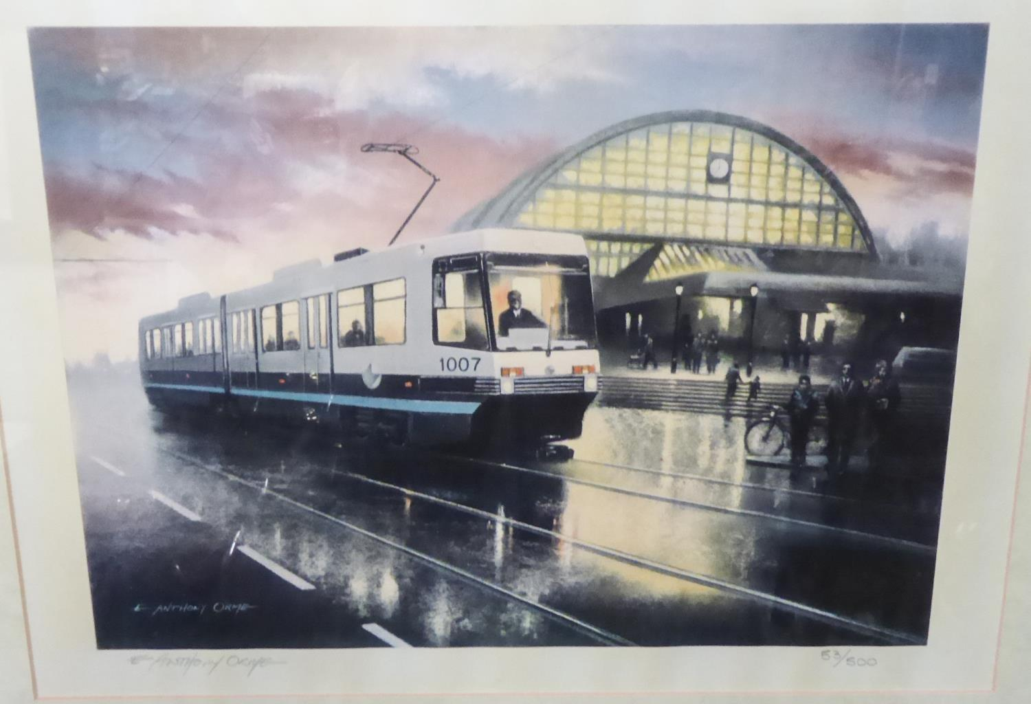 Lot 464 - ANTHONY ORME LIMITED EDITION COLOUR PRINT, MANCHESTER CITY CENTRE WITH METROLINK TRAM AND CENTRAL