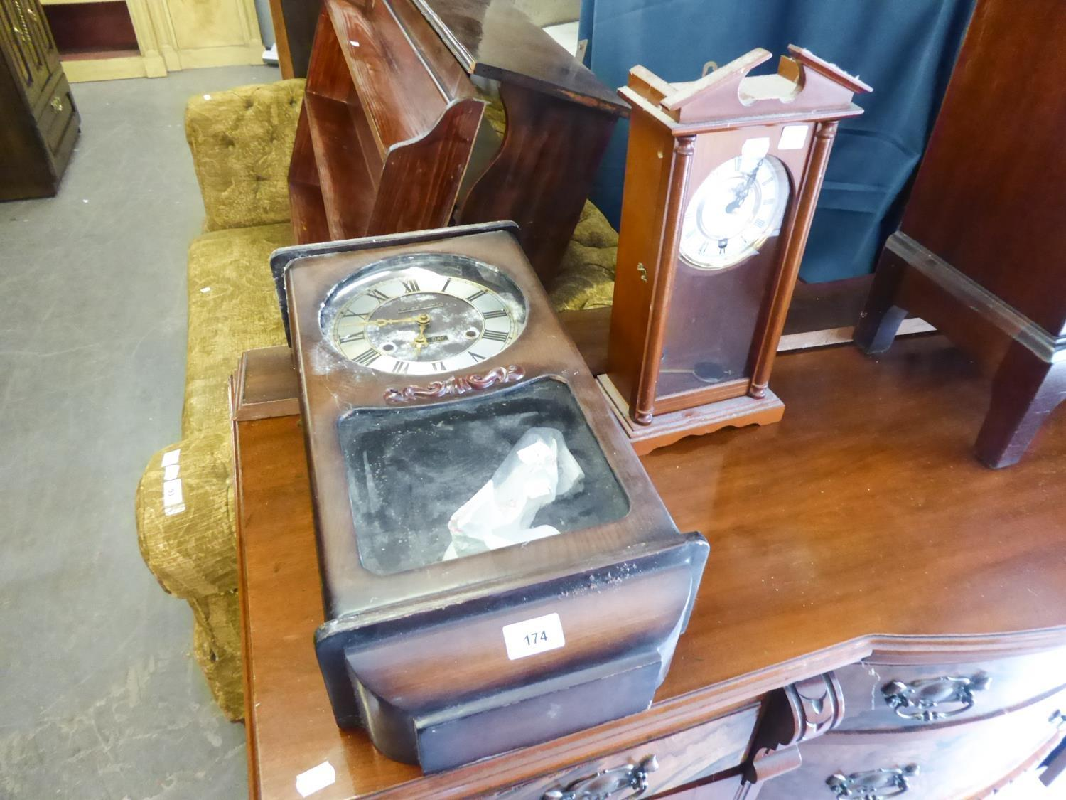 """Lot 174 - """"HIGHLANDER"""" MODERN TALL MANTLE CLOCK IN VIENNA STYLE NARROW STAINED WOOD CASE HAVING 8 DAYS"""