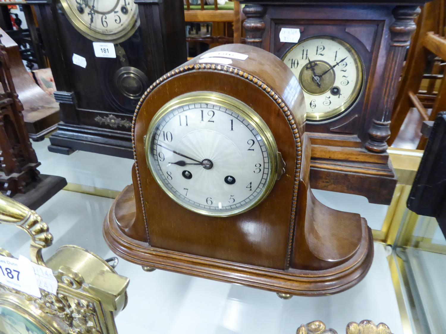 """Lot 186 - INTER-WAR YEARS MAHOGANY CASED MANTEL CLOCK with silvered arabic dial, with French movement, 13 1/4"""""""