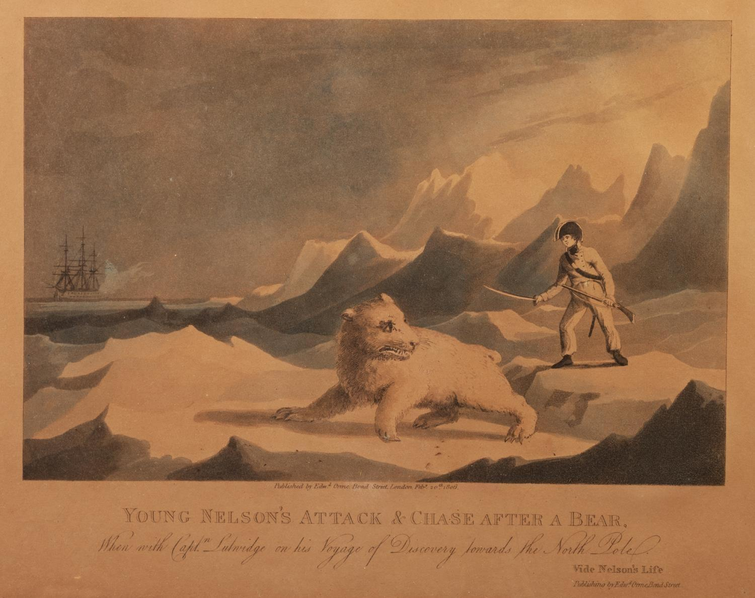 Lot 388 - EARLY NINETEENTH CENTURY AQUATINT ?Young Nelson?s Attack & Chase after a Bear? Published by Edward