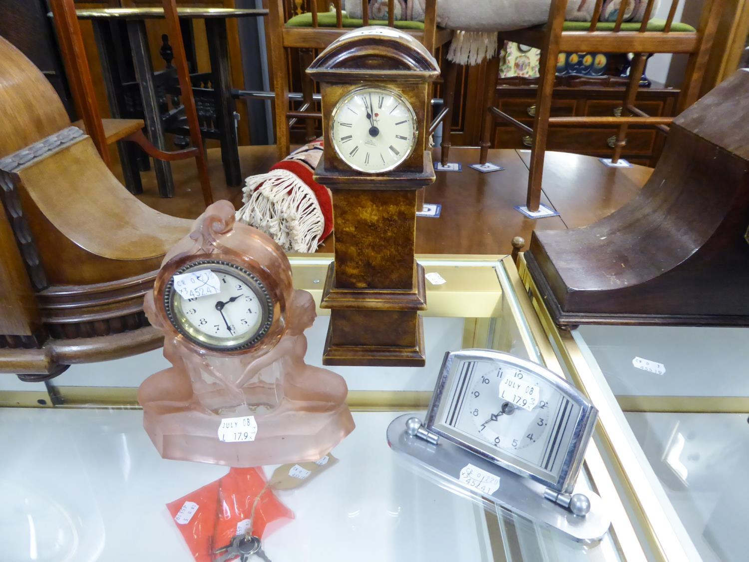 """Lot 179 - 1930s, PROBABLY BRITISH MADE, PRESSED FROSTED PINK GLASS CASED BEDROOM MANTEL OR SHELF CLOCK, 7"""" ("""
