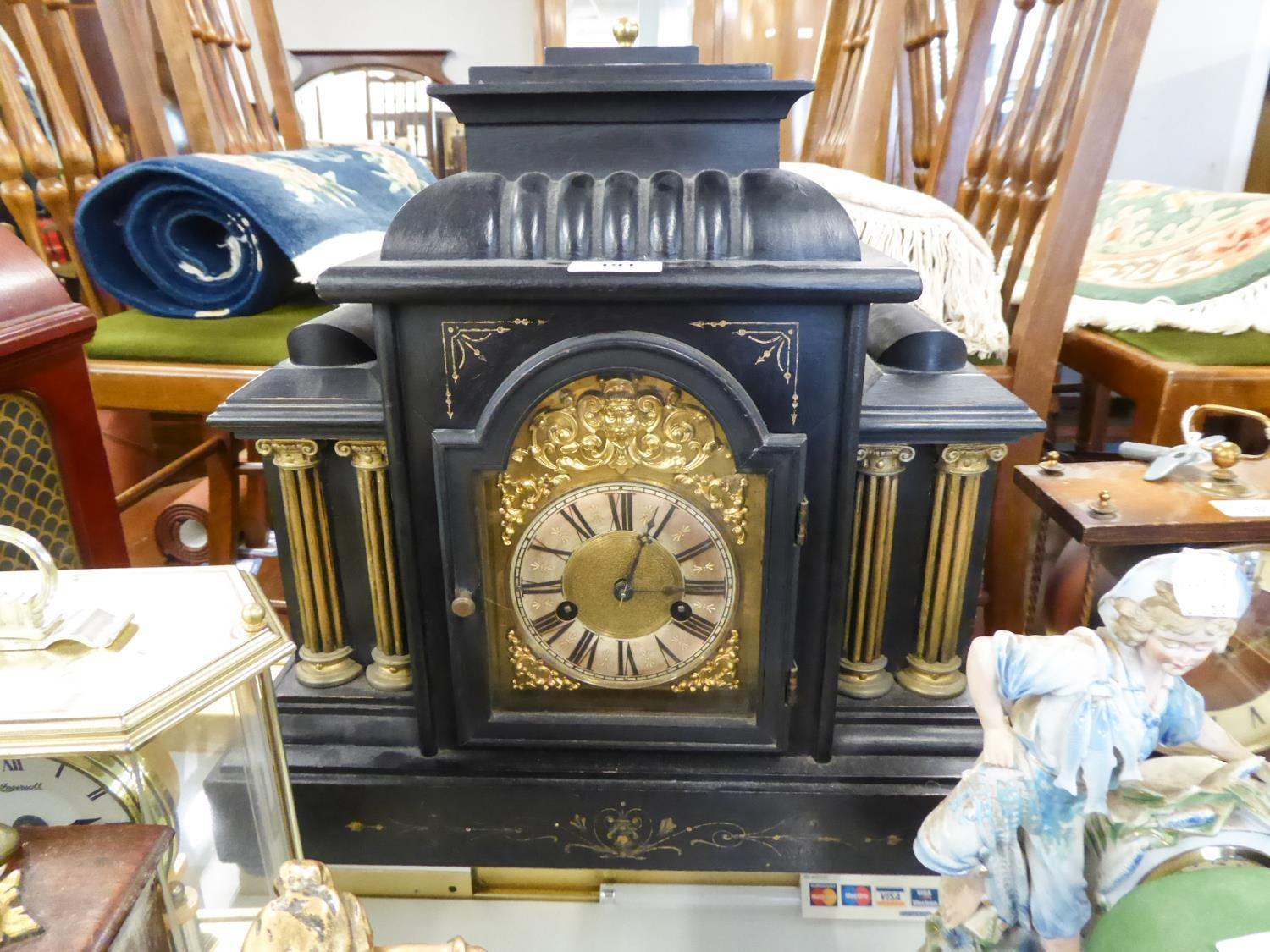 Lot 191 - EARLY 20th CENTURY EBONISED WOODEN CASED ARCHITECTURAL MANTEL CLOCK WITH H.A.C. LABELLED GERMAN
