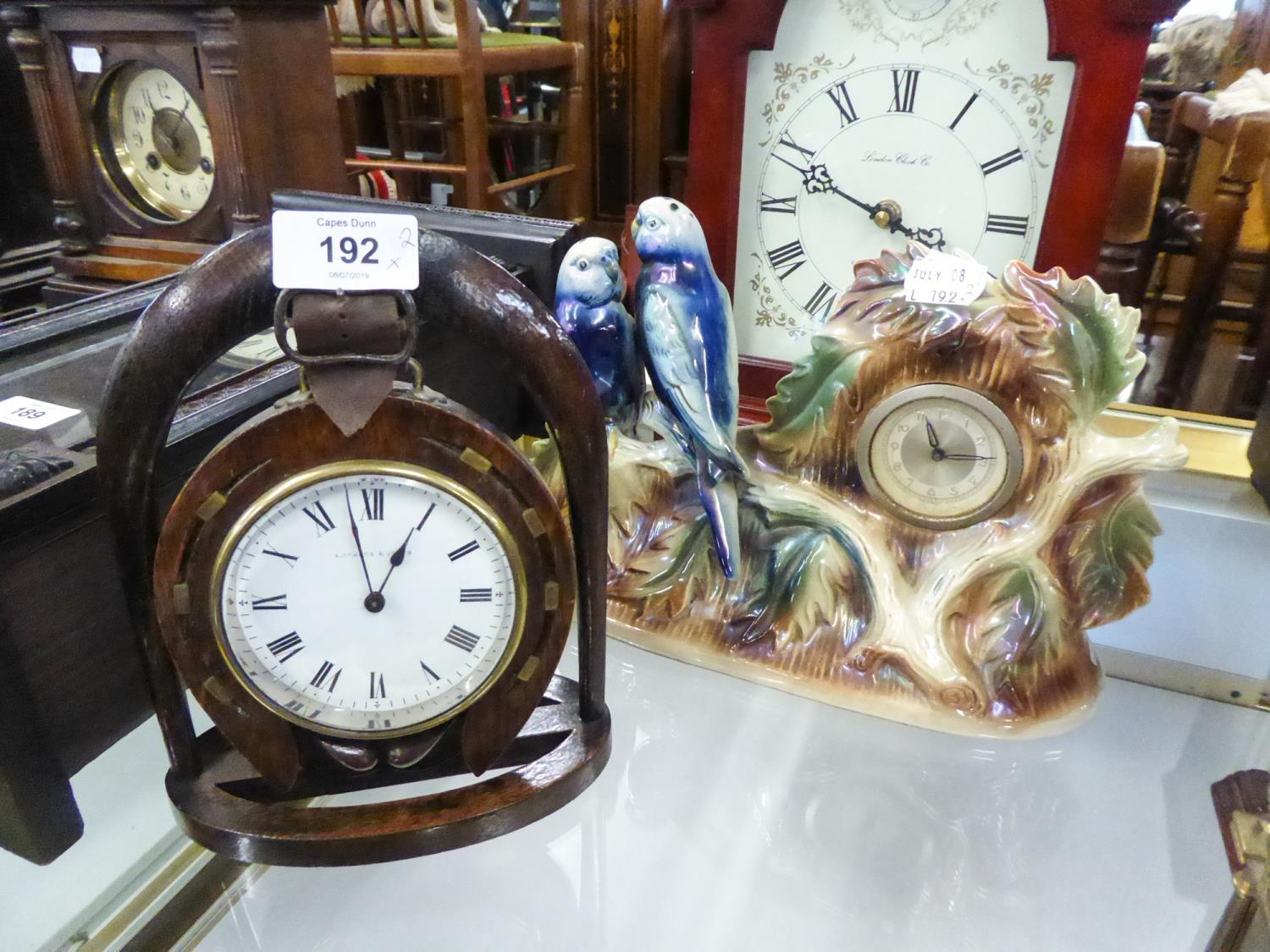 Lot 192 - JEMA (HOLLAND) CERAMIC CASED CLOCK with two budgerigars, also an OAK PENDANT HORSESHOE AND STIRRUP