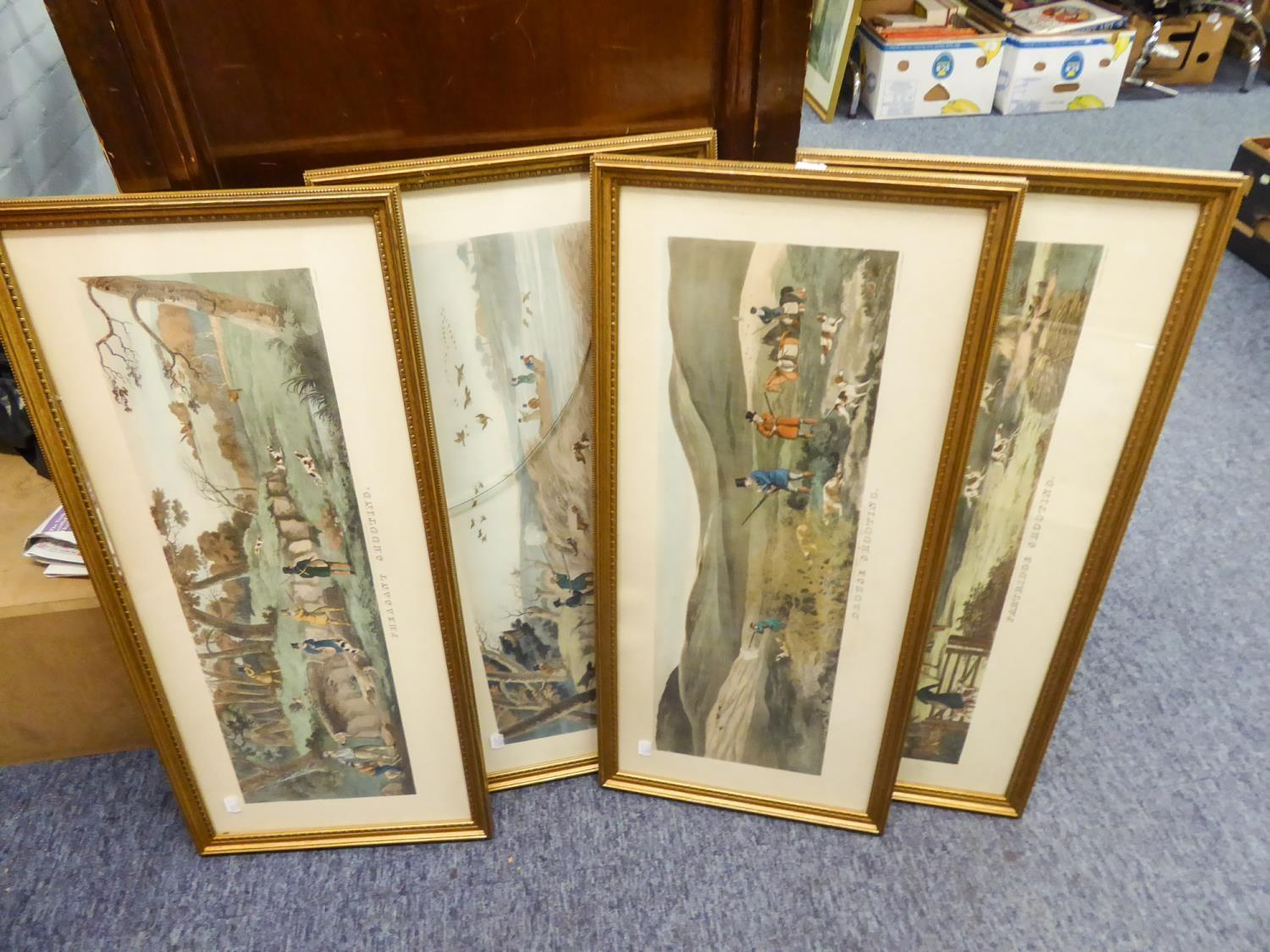 Lot 292 - AFTER ACKERMAN SET OF FOUR GAME BIRD ?SHOOTING? COLOUR PRINTS FROM ENGRAVINGS 8 ½? X 26?, FRAMED AND