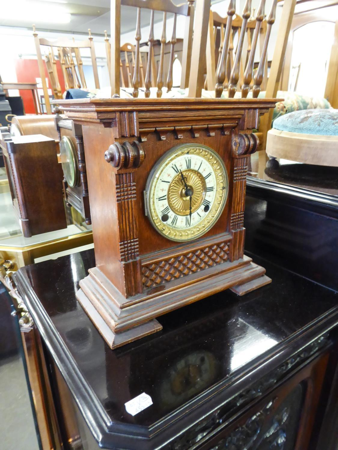 Lot 167 - ANSONIA CLOCK CO - NEW YORK OAK CASE MANTEL CLOCK WITH GILT METAL AND ENAMEL TWO PART ROMAN DIAL NOW