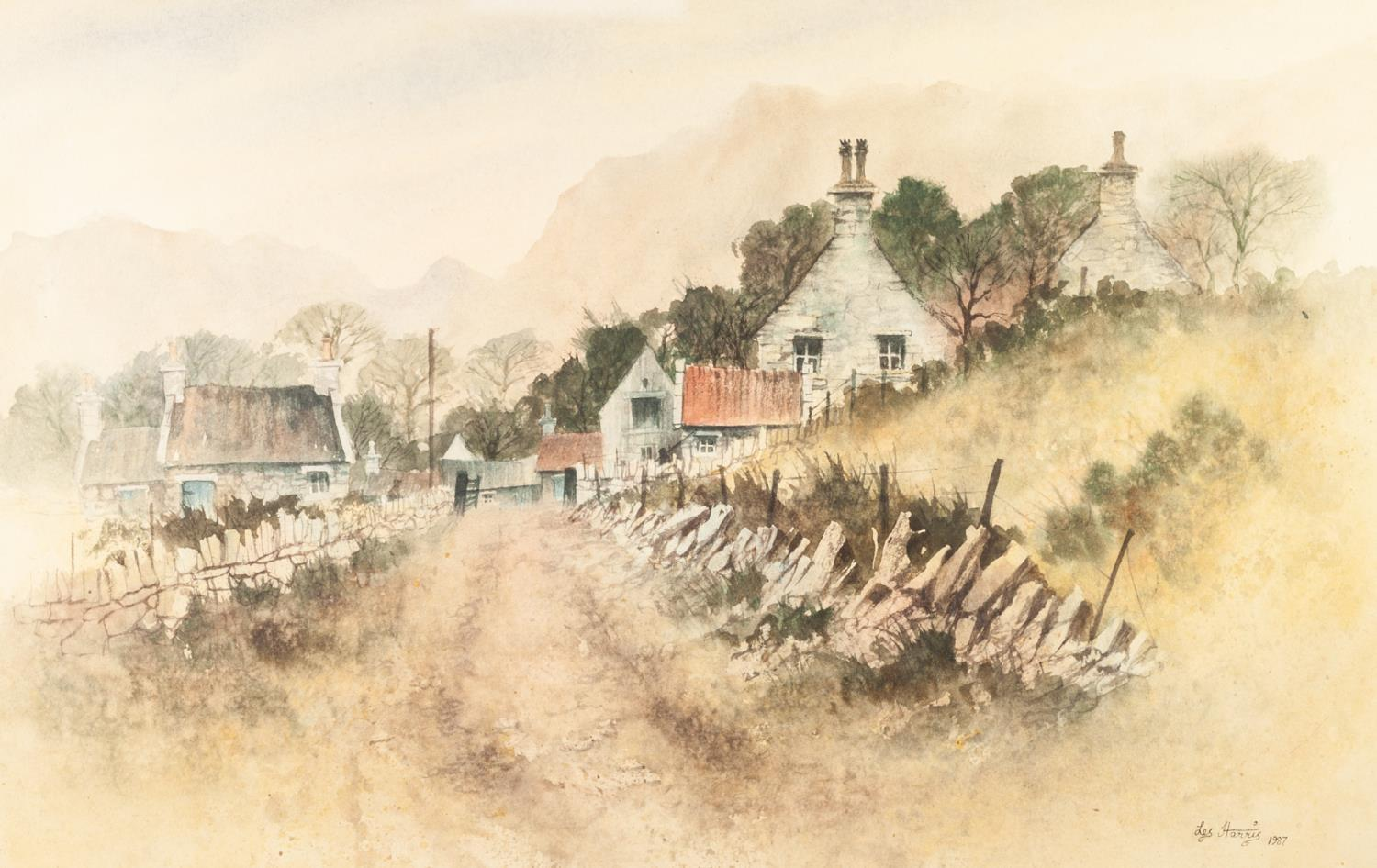 Lot 372 - LES HARRIS (TWENTIETH CENTURY) WATERCOLOUR Newlands Valley, Cumbria Signed and dated 1987 13 ½? x 21
