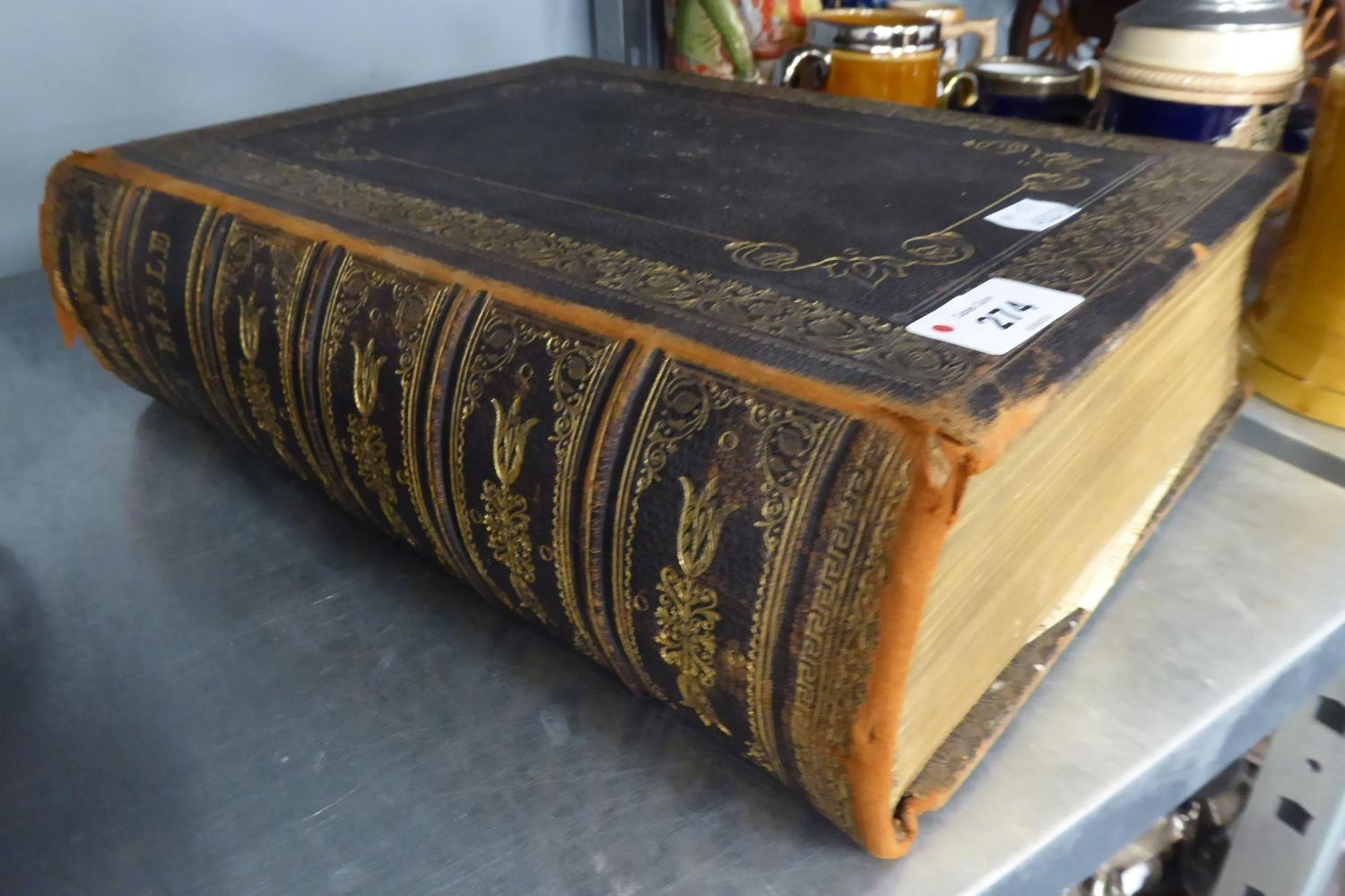 Lot 274 - VICTORIAN 'BROWNS' LARGE FAMILY BIBLE, ILLUSTRATED WITH COLOUR PLATES, TOOLED AND GILT MOROCCO