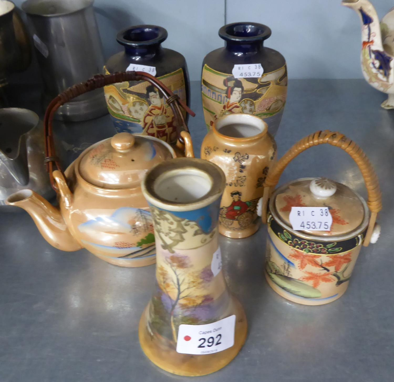 """Lot 292 - NORITAKE CHINA CONICAL VASE, HAND PAINTED WITH LANDSCAPE, 5"""" HIGH, A PAIR OF SMALL JAPANESE"""