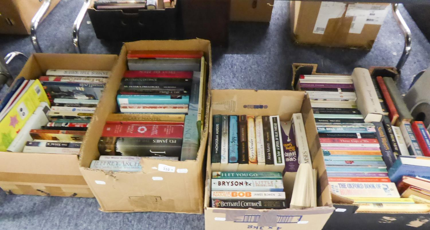 Lot 384 - FIVE BOXES OF VARIOUS HARDBACK AND PAPERBACKS BOOKS TO INCLUDE SHORTER OXFORD DICTIONARY, JEFFREY