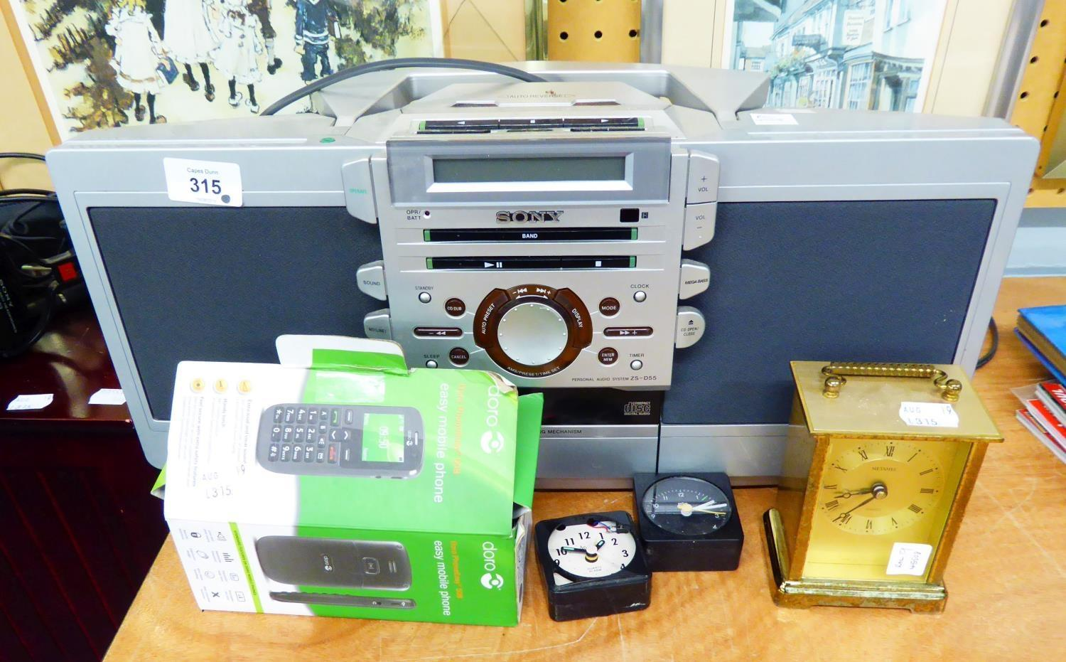 Lot 315 - SONY STEREO PORTABLE RADIO AND COMPACT DISC PLAYER AND A QUANTITY OF CD's A PAIR OF SONY