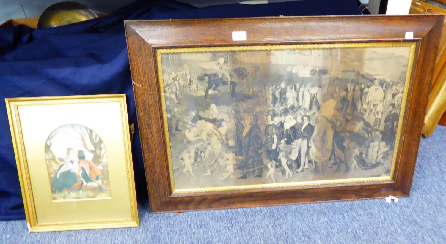 "Lot 316 - A LATE 19TH CENTURY BLACK AND WHITE PRINT DEPICTING A PROCESSION OF ELIZABETHAN FIGURES, 17"" X"