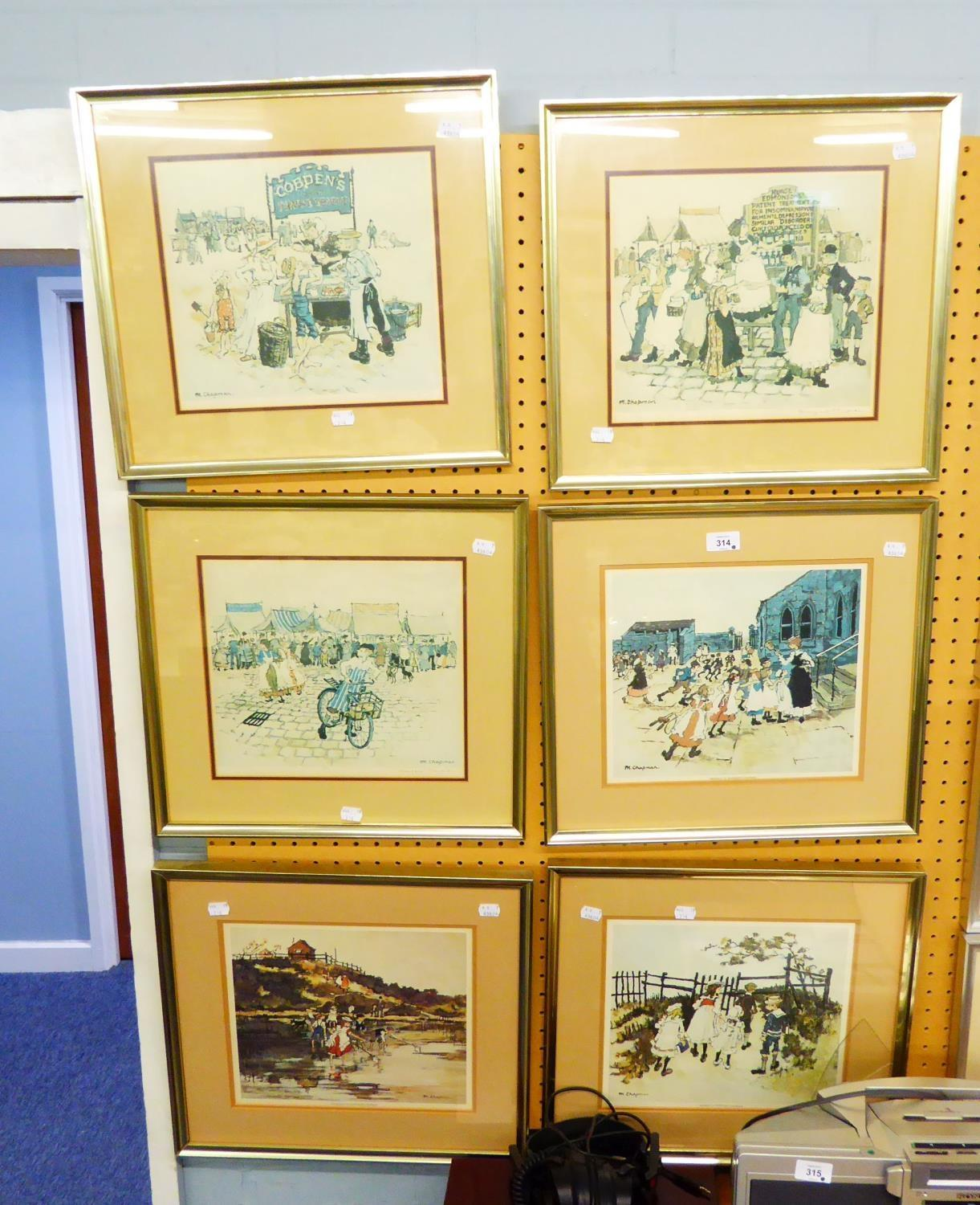 Lot 314 - MARGARET CHAPMAN - THREE ARTIST SIGNED REPRODUCTION COLOUR PRINTS AND THREE UNSIGNED DITTO (6)