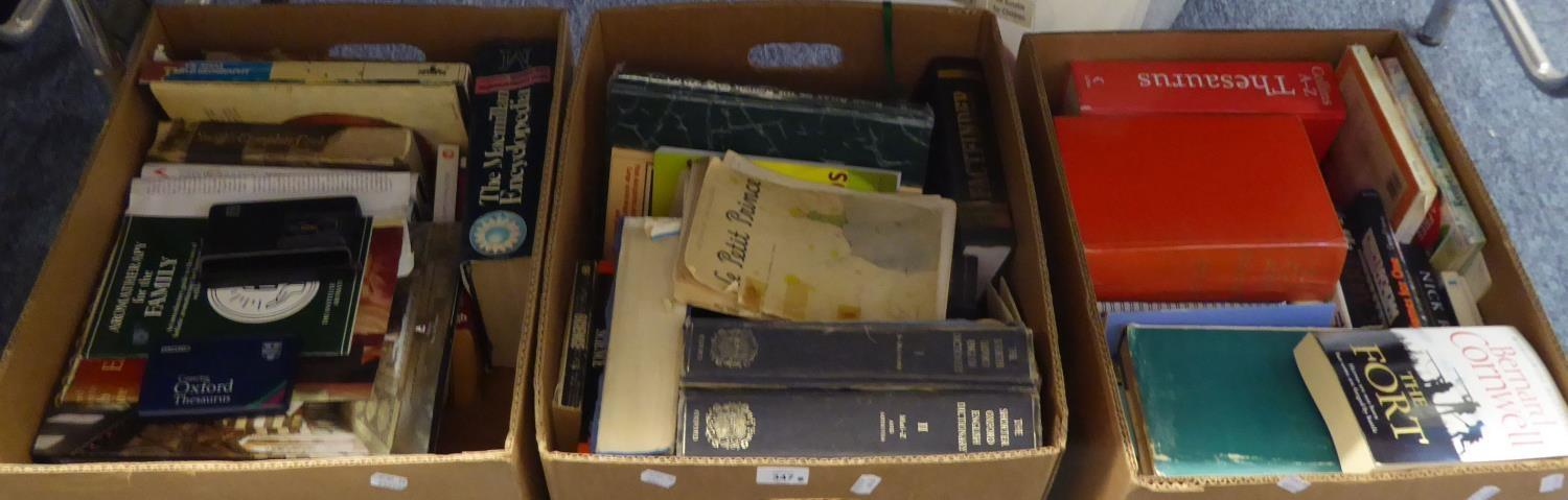 """Lot 347 - SEIKO """"OXFORD THESAURUS"""" AND THREE BOXES OF BOOKS VARIOUS AND A KODAK DISC CAMERA"""