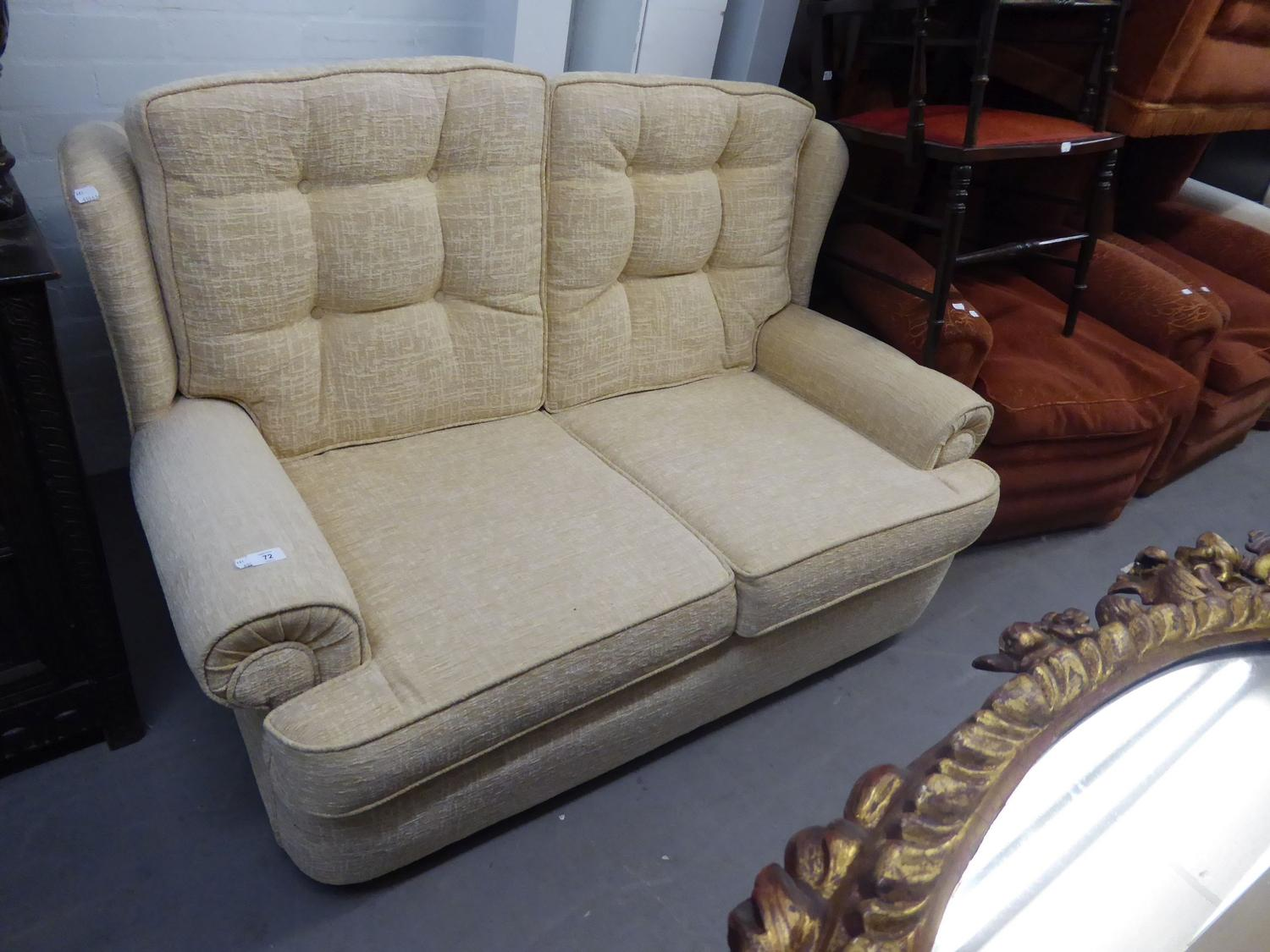 Lot 64 - A TWO SEATER MODERN SOFA, PADDED THROUGHOUT WITH BUTTON BACKS IN CREAM CHENILLE FABRIC