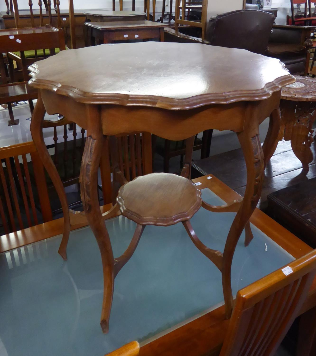 """Lot 54 - EDWARDIAN WALNUTWOOD SHAPED CIRCULAR CENTRE TABLE, ON SIX CABRIOLE LEGS WITH UNDER PLATFORM, 2'6"""""""