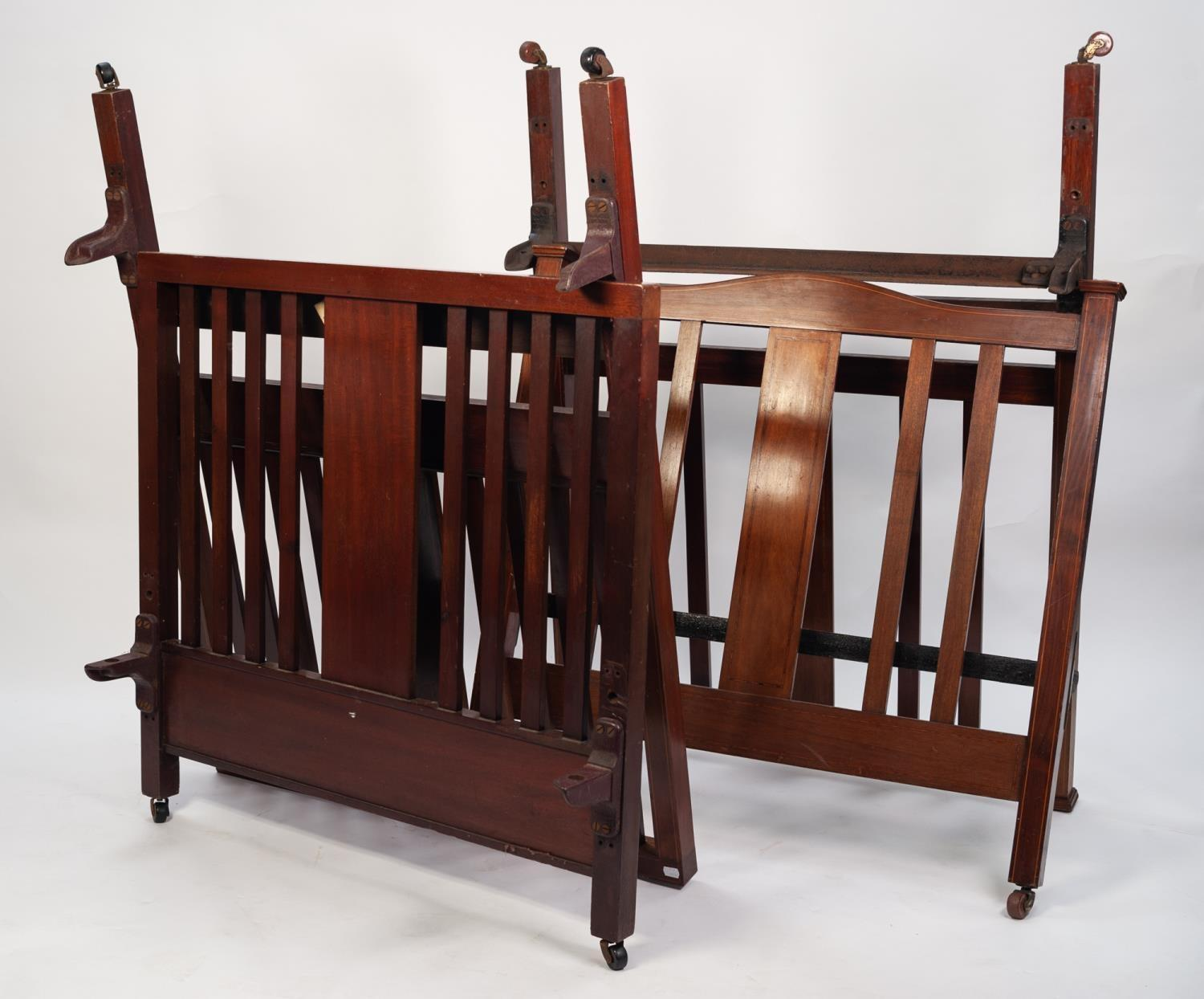 Lot 66 - WARING & GILLOWS, TWO SIMILAR EDWARDIAN INLAID MAHOGANY SINGLE BED ENDS, each of slatted form with