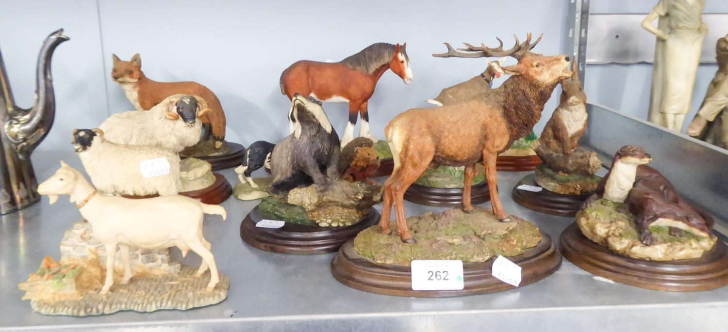 Lot 262 - GROUP OF LATE 23TH CENTURY ANIMAL FIGURINE ORNAMENTS TO INCLUDE, FIVE COUNTRY ARTISTS, RED STAG,