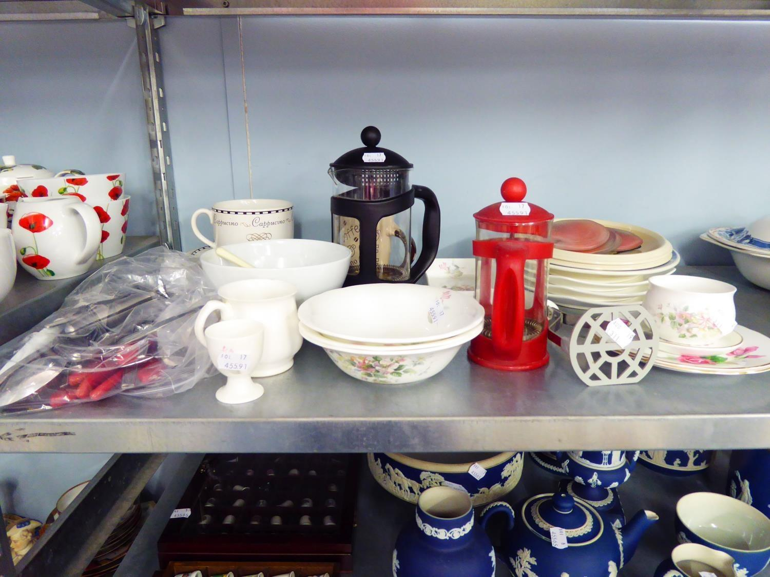 Lot 265 - LARGE CERAMIC BISCUIT BARREL OWL, QUANTITY OF CUTLERY, BLUE AND WHITE JUG AND QUANTITY OF VARIOUS