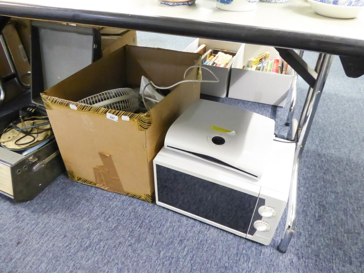 Lot 297 - 'COOKWORKS' MICROWAVE OVEN, RUSSELL HOBBS ELECTRIC TOASTER, QUEST JUG KETTLE, SUPA LEC STEAM IRON,