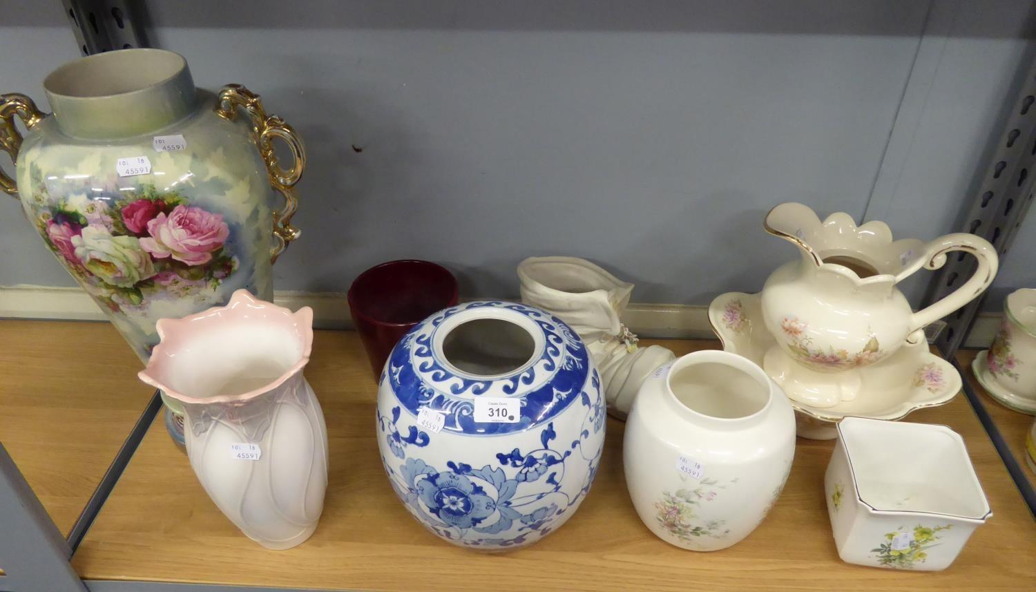Lot 340 - LARGE CERAMIC TWO HANDLED VASE WITH FLORAL DECORATION, BLUE AND WHITE VASE, TOILET BOWL AND JUG