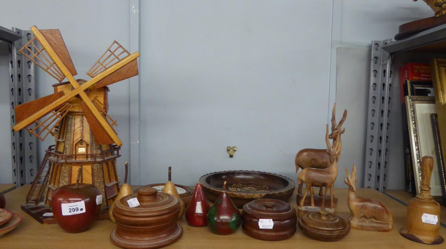 Lot 314 - MUSICAL WINDMILL MADE WITH MATCHSTICKS IN WORKING ORDER, FIVE WOODEN PEAR ORNAMENTS, THREE WOODEN