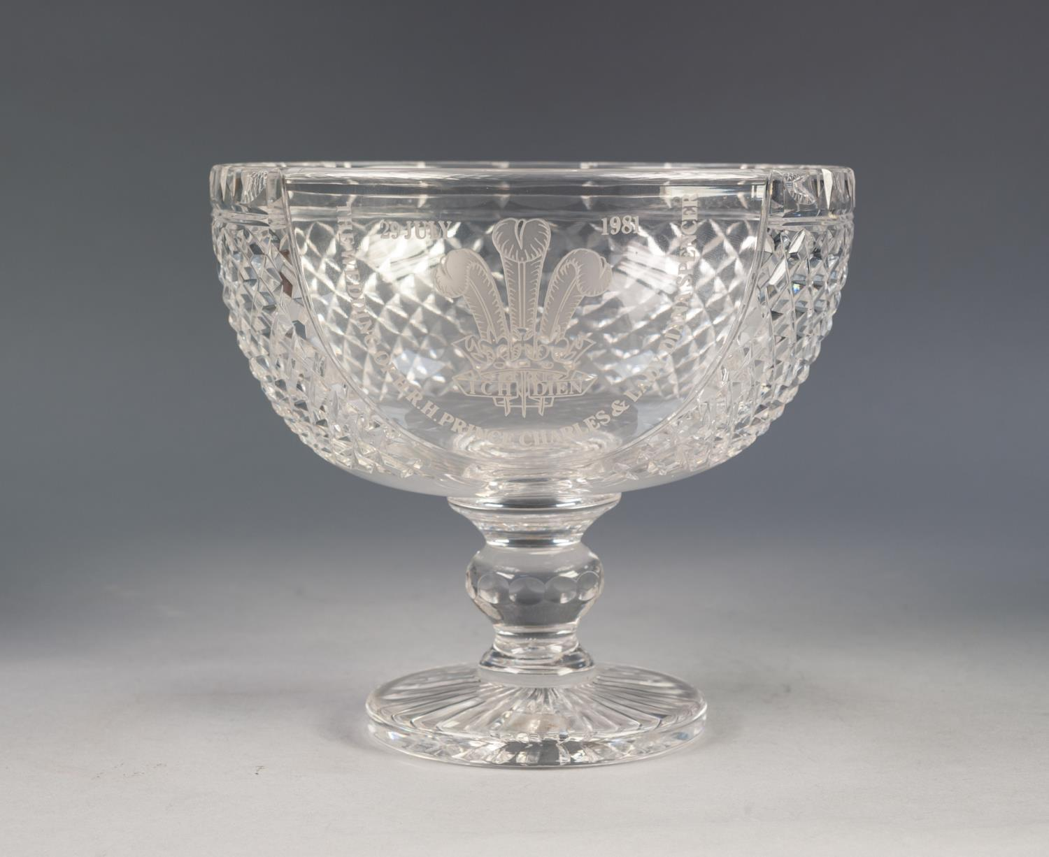 Lot 204 - BOXED STUART CRYSTAL LIMITED EDITION, CHARLES AND DIANA, ROYAL COMMEMORATIVE CHALICE, engraved