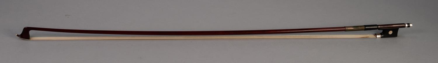 Lot 452 - COPY OF A DODD VIOLIN BOW with silver fittings and wire bound stick