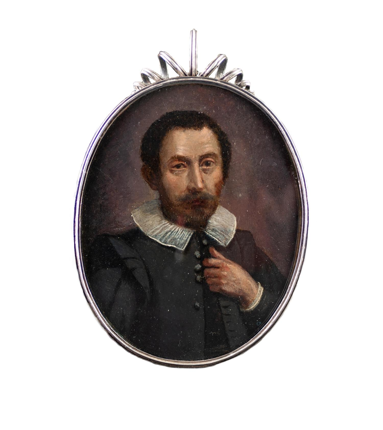 Lot 925 - SPANISH SCHOOL (EARLY 17TH CENTURY) OIL PAINTING ON COPPER, OVAL PORTRAIT OF A NOBLEMAN,
