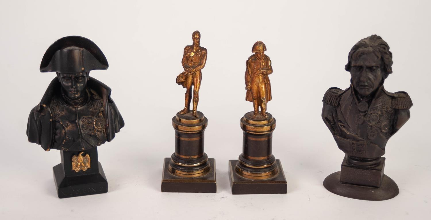 Lot 244 - PAIR SMALL 20th CENTURY GILT AND BRONZE METAL STANDING FIGURES of Napoleon and Wellington on