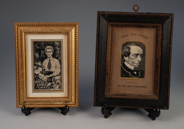 Lot 14 - H.W. GRANT COVENTRY WOVEN SILK PORTRAIT 'THE LATE EARL OF BEACONSFIELD' (Benjamin Disraeli) in