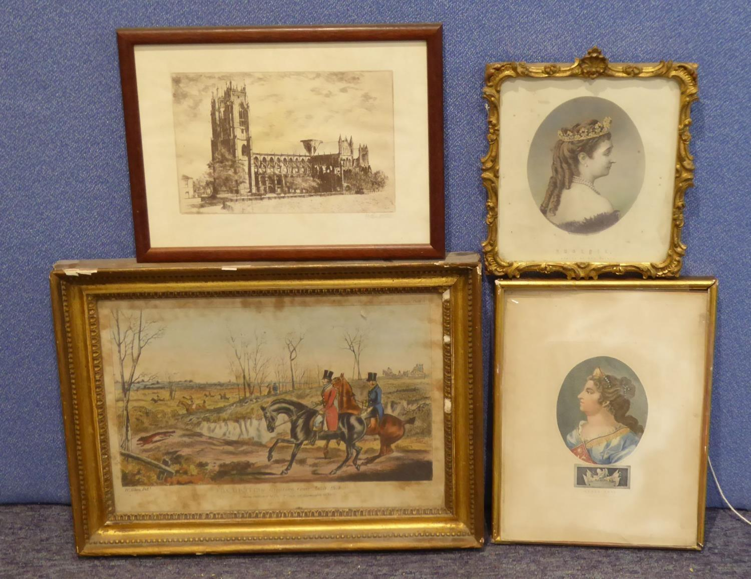 Lot 75 - T. SUTHERLAND AFTER HENRY ALKEN, HAND-COLOURED LITHOGRAPH 'Fox Hunting Plate II Breaking Cover -