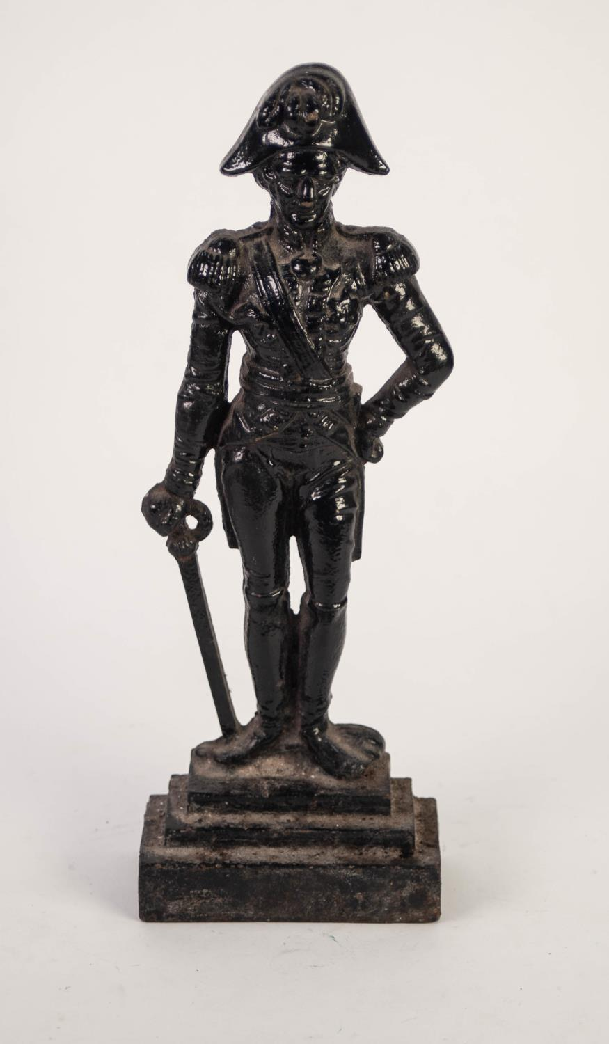 Lot 241 - 19th CENTURY PAINTED CAST IRON FLAT BACK FIGURAL DOORSTOP IN THE FORM OF WELLINGTON right hand